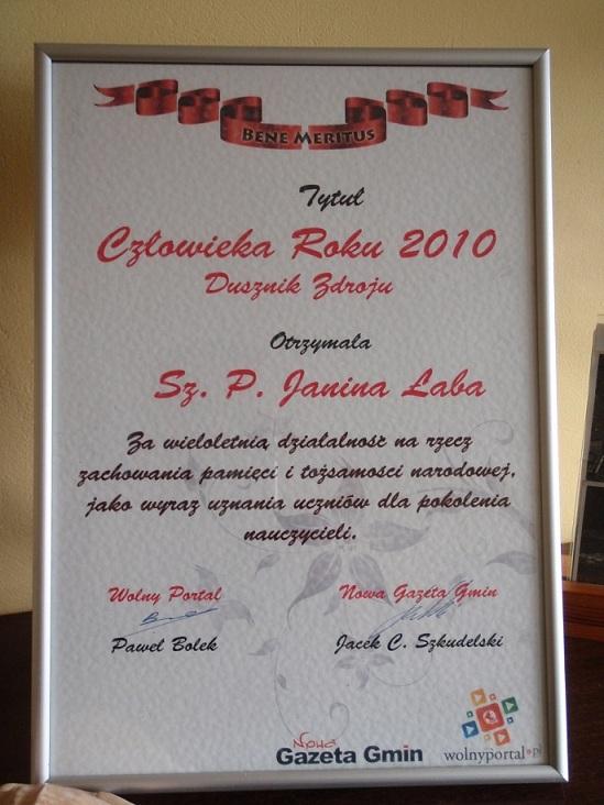 Janina Łaba Człowiek Roku Dusznik Zdroju 2010