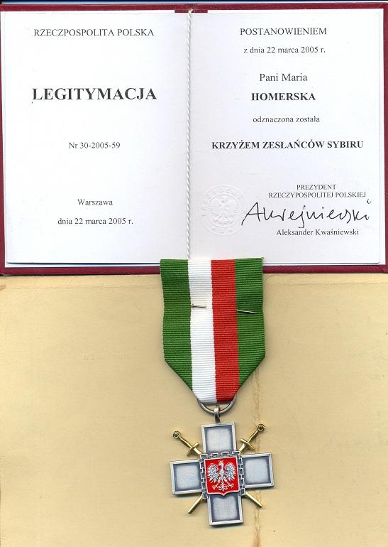 Krzyż Zesłańców Sybiru dla Marii Nowickiej - Homerskiej Dusznik Zdroju kwiecień 2005